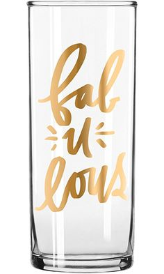 """Easy, Tiger Tall Cocktail Glass with Foil, Gold """"Fabulous"""" (12 oz) Best Price"""