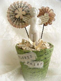 Handmade Spring Rosette Flower Pot Vintage Flower Fairy Spring Decoration…