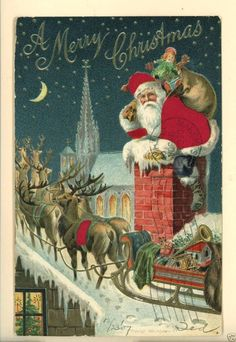 Santa Claus Silk Suit Silk Blanket on Reindeer Merry Christmas 1907 Postcard | eBay
