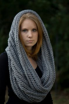 Gray Oversized Hooded Cowl @Tisha Christopher something along this pattern.