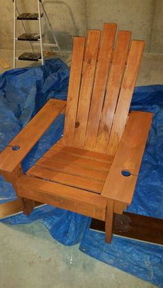 Adirondack chair built from repurposed pallets.
