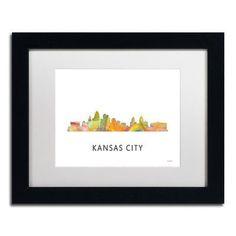 "Trademark Art ""Kansas City Missouri Skyline WB-1"" by Marlene Watson Framed Graphic Art Size: 11"" H x 14"" W x 0.5"" D"