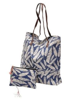 Jozemiek Go2Beach shopper / tassen set blue feathers