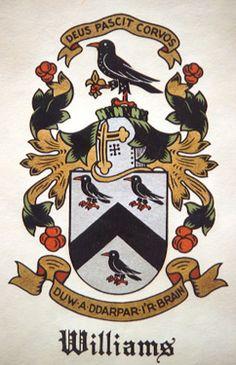 Williams coat of arms. Deus Pascit Corvos: God Feeds the Ravens. Tattoo idea.