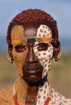 Portrait of Karo tribesman, Lower Omo River, Ethiopia