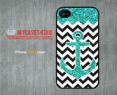 Glitter Anchor iPhone 4 case Anchor iPhone4 case chevron iPhone 4s Case Glitter iPhone 4 4g 4s Hard/Rubber case-Choose Your Favourite Color by MyCasesKing, $6.99