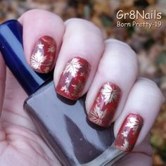 Fall nail art with Born Pretty stamping plates