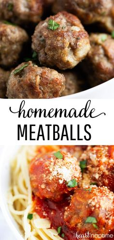 These are the best oven baked meatballs! So easy to make, juicy and flavorful. They're perfect for appetizers, meatballs subs or on top of spaghetti. #meatballs #beeffoodrecipes #beef #italian #italianfood #baked #spaghetti #easyrecipe #recipes #iheartnaptime