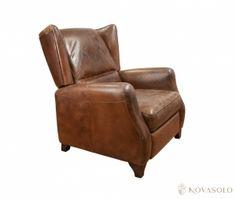 """Eksklusiv London skinnstol fra øverste hylle hva angår kvalitet og eleganse!Stolen er produsert i en antikk """"vintage leather"""" og er meget behagelig å sitte i. Kun det ø"""