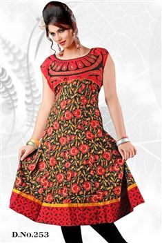 Red casual wear anarkali style kurti @ just Rs. 755