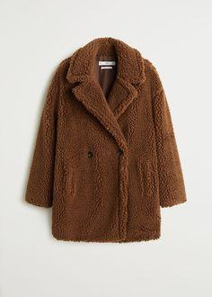 Double breasted faux shearling-lined coat - Women Oversized Mantel, Oversized Coat, Sherling Coat, Faux Coat, Faux Fur, Mango Coats, High Street Fashion, Fall Looks, Who What Wear
