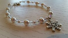 Crystal Pearl and Crystal Beaded Frozen Snowflake Charm Bracelet