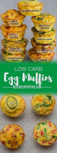 Low Carb Egg Muffin make the perfect breakfast for on the go. Theyre packed with protein and so convenient for busy mornings. Low Carb Egg Muffin make the perfect breakfast for on the go. Theyre packed with protein and so convenient for busy mornings. Low Carb Egg Muffins, Mini Egg Muffins, Spinach Egg Muffins, Sausage Egg Muffins, Eggs Low Carb, Pancake Muffins, Bacon Egg, Keto Recipes, Cooking Recipes