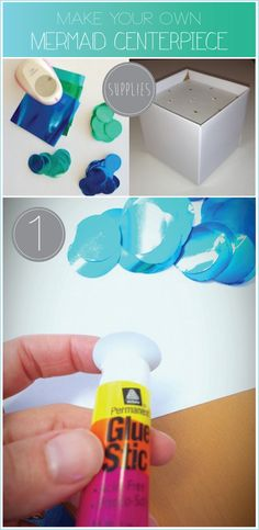 Blue-Ombre-Mermaid-Centerpiece-Tutorial little mermaid party