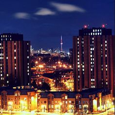 Dorm room views: Bright lights in the big city ! Photo credits: @alsharuk on Instagram. #YorkU #Toronto #University #Beautiful York University, Bright Lights, Dorm Decorations, Dorm Room, Photo Credit, New York Skyline, Toronto, City Photo, Big