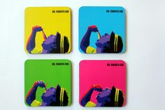 #GABAMBO.  Tables are scared of commitment. Use these coasters to keep them away from rings!  A set of 4 bright coasters inspired by Dil Chahta Hai.  Available at www.gabambo.com