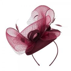 Burgundy Horsehair Net Crown Fascinator ❤ liked on Polyvore featuring accessories, hair accessories, crown hair accessories, fascinator hat, hair fascinators and fancy hair accessories
