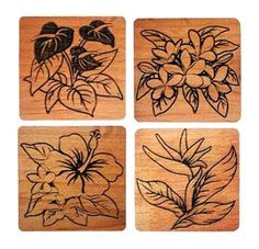 Hawaiian Hawaii Branded Wood Coasters Beautiful Tropical Flowers Set Of 4 #70320