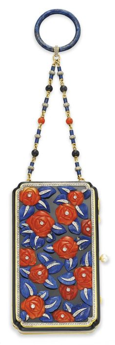 AN ART DECO CORAL, LAPIS LAZULI, ENAMEL AND DIAMOND 'POIRET ROSE' VANITY CASE, BY LACLOCHE FRERÈS, CIRCA 1925. 3½ x 2 ins., with Swiss assay marks, English hallmarks and maker's mark for Lacloche Frères, numbered. #Lacloche #ArtDeco #VanityCase