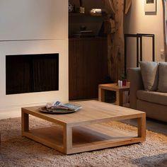 Furniture, Custom DIY Low Square Wood Oak Coffee Table With Tray And Bookshelf Or Magazine Storage On Brown Rugs For Small Living Room Beside Fireplace Ideas ~ Low Coffee Table
