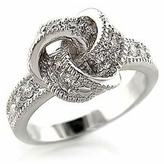 'Sz 8,9 Sparkly Rhodium CZ Love Knot Ring' is going up for auction soon this evening, Sat, Jun 29 with a starting bid of $1.