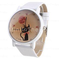Relógio gato, pulseira branca.