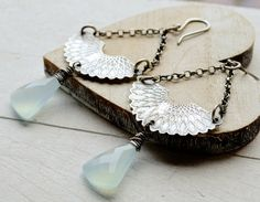 Long Silver Fan Earrings. Etched. Textured. Aqua Chalcedony. Oxidized Rustic Metalwork. Stylish. OOAK. Gift for a Friend