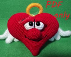 Doble corazón patrón ganchillo patrón amigurumi por dsMouseBears