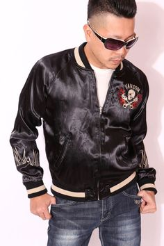 anch-crash: You can buy it only here! Our store comment VANSON バンソンスカル embroidery reversible ska Jean skeleton wing fire American casual bikie men jacket Father's Day present American Casual, Us Store, Fathers Day Presents, Satin Jackets, Global Market, Skeleton, Wings, Leather Jacket, Fire