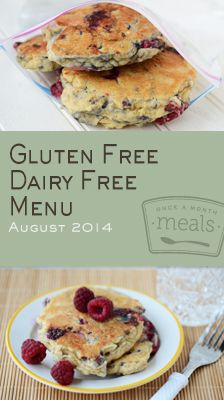 Gluten Free Dairy Free August 2014 Menu | Once A Month Meals | OAMC | Freezer Cooking | Freezer Meals | Customized Shopping List | Custom Se...