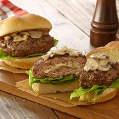 Stuff burgers with mushrooms and Swiss cheese to amp up the flavor at game day parties.