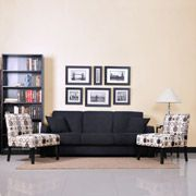 Tahoe Black Convert-A-Couch Sofa Sleeper and Set of 2 Accent Chairs Value Bundle