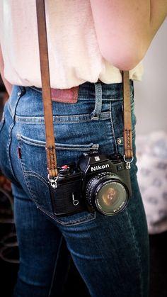 Handmade Leather Camera Neck Strap / Camera Neck by HitchandTimber