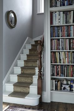 The walls are painted in Dove Tale by Farrow & Ball. The painted stair runner on the stairs is a temporary solution as the stairs will be ca… – hallway Painted Floorboards, White Floorboards, Painted Staircases, Painted Stairs, Spiral Staircases, Staircase Makeover, Staircase Ideas, Hallway Ideas, Staircase Remodel