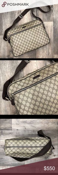 """Authentic Gucci Messenger/laptop bag Authentic Gucci Crossbody/Laptop bag in brown Guccissima monogram logo print. Bag measures 14""""x 5""""x 10"""". Overall bag is in good condition. Clean interior, no major staining. All piping intact and shows minimal wear and light scuffing. The rest of the bag shows some signs of wear. Some light scuffing and light discoloration on leather. Top panel of bag has some bubbling, please see photos. I've noticed this on multiple bags of the same style. Does not come…"""