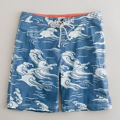 Shop the Blue wave board short at J.Crew and see the entire selection of Men's Swimwear. Mens Swim Shorts, Beach Attire, Mens Attire, Beach Pants, Mens Boardshorts, Beachwear, Swimwear, Man Swimming, Swim Trunks