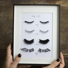 """DIY Fake Eyelashes Wall Art Tutorial from Make My Lemonade.Her piece is labeled, """"Today I feel"""" and then descriptions for each pair of eyel..."""