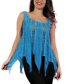 This Turquoise Sheer Crochet Handkerchief Top - Plus by Shoreline is perfect! #zulilyfinds