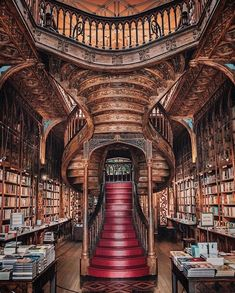 In a castle's library — Livraria Lello, Porto, Portugal. Beautiful Library, Dream Library, Library Books, Magical Library, Grand Library, Hogwarts Library, Livraria Lello Porto, Studio Decor, Old Libraries