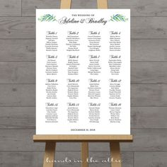 Wedding ceremony seating chart large portrait elegant sign printable guest list white background script customized PDF DIGITAL by HandsInTheAttic