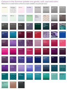 "Summer palette by Kettlewell Colours: ""Colours in the Summer palette are gentle, soft, cool and calm.""  You can click on any of these swatches on this site to shop garments available in that particular color."