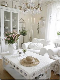 Great white sitting room, so elegant!