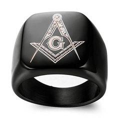 DDOLAA Jewelry Retro Hip Hop Style Black Titanium Steel Plated Masonic - InnovatoDesign Meteorite Wedding Band, Black Onyx Ring, Titanium Rings, Steel Plate, Wood Rings, Hip Hop Fashion, Plating, Retro, Jewelry