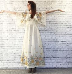 Vintage 70s Cascade Floral Maxi Dress S M Handkerchief Sleeves Buttercream Butterflies Macrame Trim by PopFizzVintage on Etsy