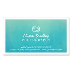 Photography Watercolor Aqua Green Photo Showcase Double-Sided Standard Business Cards (Pack Of 100)