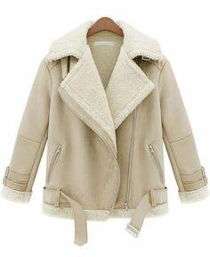 Beige Lapel Long Sleeve Zipper Wool Coat pictures