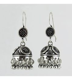 Looking Wow ! Oxidized Jhumka 925 Sterling Silver Earring, Weight: 17 g, Size - 4.5 x 1.8 cm, Wholesale Orders Acceptable, All Pieces have 925 Stamp