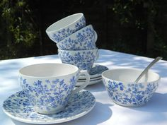 Ironstone Staffordshire ICTC, Burgess and Leigh 'May Blossom' Blue and White Teaset ~ 4 cups and saucers with sugar bowl, circa 1960s. No Cracks, Chips or Crazing, £30+ p&p.