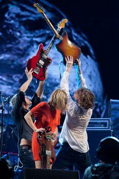 Lee Ranaldo, Kim Gordon and Thurston Moore at Sonic Youth's last show in Brasil