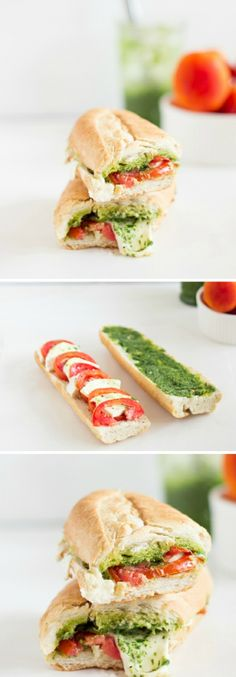 idea how to make a caprese sandwich, easy picnic recipe with pesto, mozzarella, tomatoes and baguette, picnic beach - ArchZine FR - Pctr UP Lunch Recipes, Vegetarian Recipes, Cooking Recipes, Healthy Recipes, Baguette Sandwich, Food Porn, Good Food, Yummy Food, Salty Foods